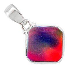 925 silver 3.58cts volcano aurora opal (lab) cushion pendant jewelry t25900