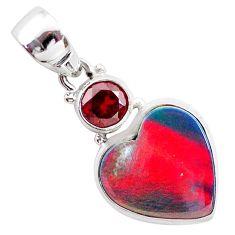925 silver 5.09cts volcano aurora opal (lab) garnet heart pendant t25930