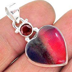 925 silver 7.23cts volcano aurora opal (lab) garnet pendant jewelry t16900
