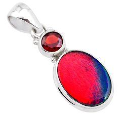 925 silver 4.46cts volcano aurora opal (lab) garnet pendant jewelry t25906