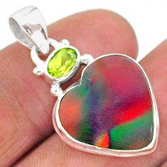 925 silver 9.72cts volcano aurora opal (lab) green peridot pendant t16925