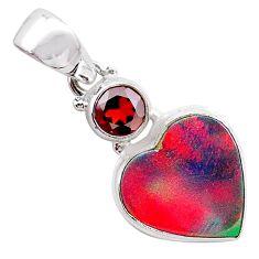 925 silver 4.82cts volcano aurora opal (lab) heart garnet pendant t25923