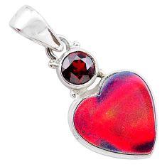 925 silver 4.82cts volcano aurora opal (lab) heart garnet pendant t25937