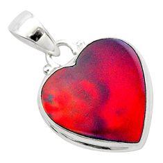925 silver 4.84cts volcano aurora opal (lab) heart pendant jewelry t26035