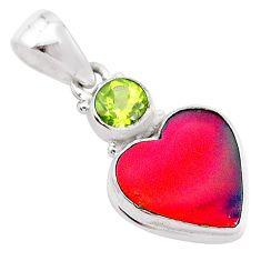 925 silver 4.82cts volcano aurora opal (lab) heart peridot pendant t25909