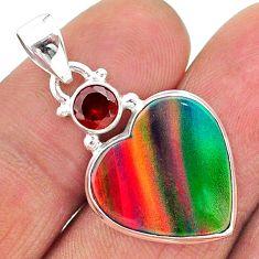 925 silver 9.57cts volcano aurora opal (lab) heart red garnet pendant t16936