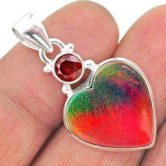 925 silver 9.18cts volcano aurora opal (lab) heart red garnet pendant t16940