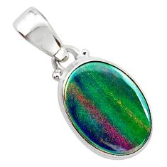 925 silver 3.31cts volcano aurora opal (lab) oval pendant jewelry t25871