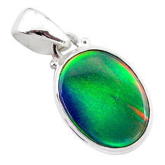 925 silver 3.71cts volcano aurora opal (lab) oval pendant jewelry t25877