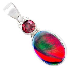 925 silver 4.73cts volcano aurora opal (lab) oval red garnet pendant t25958