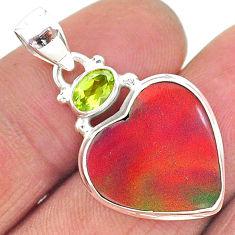 925 silver 9.18cts volcano aurora opal (lab) peridot pendant jewelry t16913
