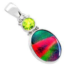 925 silver 4.72cts volcano aurora opal (lab) peridot pendant jewelry t25910