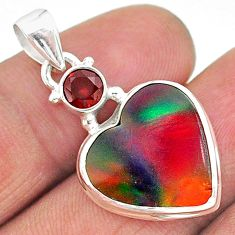 925 sterling silver 8.70cts volcano aurora opal (lab) red garnet pendant t16884