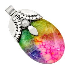 Clearance Sale- 925 sterling silver 67.41cts watermelon druzy oval pearl pendant jewelry d45588