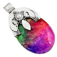 925 sterling silver 45.63cts watermelon druzy white pearl pendant jewelry d45530