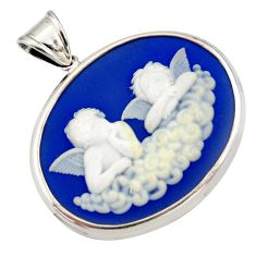 Clearance Sale- 925 sterling silver 20.07cts white baby wing cameo oval pendant jewelry d44257