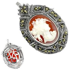 925 sterling silver white lady cameo marcasite brooch pendant jewelry c20866