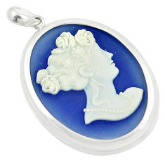 925 sterling silver 23.09cts white lady cameo oval pendant jewelry c21309