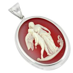 925 sterling silver 22.54cts white mother baby love cameo pendant jewelry c21336