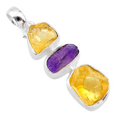 925 sterling silver 12.12cts yellow citrine raw amethyst raw pendant t33414