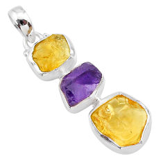 925 sterling silver 10.28cts yellow citrine raw amethyst raw pendant t33417