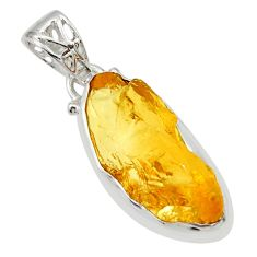 925 sterling silver 11.73cts yellow citrine rough fancy pendant jewelry r29849