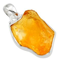 925 sterling silver 15.58cts yellow citrine rough fancy pendant jewelry r29967