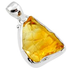 925 sterling silver 13.15cts yellow citrine rough fancy pendant jewelry r51160