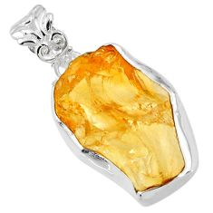 925 sterling silver 14.05cts yellow citrine rough fancy pendant jewelry r56571
