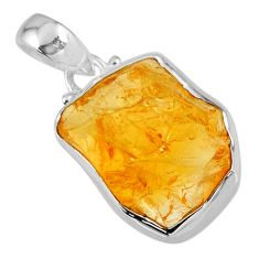 925 sterling silver 13.15cts yellow citrine rough fancy pendant jewelry r56574