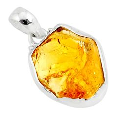 925 sterling silver 13.70cts yellow citrine raw fancy pendant jewelry r80679