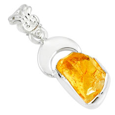 925 sterling silver 6.43cts yellow citrine raw fancy pendant jewelry r80918