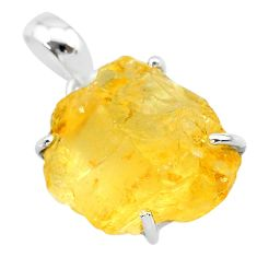 925 sterling silver 15.26cts yellow citrine raw fancy pendant jewelry t31156