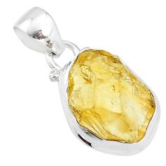 925 sterling silver 8.84cts yellow citrine raw fancy pendant jewelry t4303