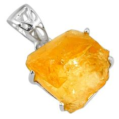 925 sterling silver 13.20cts yellow citrine rough fancy shape pendant r56606