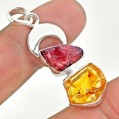 925 sterling silver 13.77cts yellow citrine rough garnet moon pendant t33634