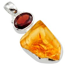 925 sterling silver 17.22cts yellow citrine rough garnet pendant jewelry r29819