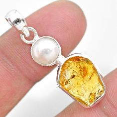 925 sterling silver 9.37cts yellow citrine raw pearl pendant jewelry t25479