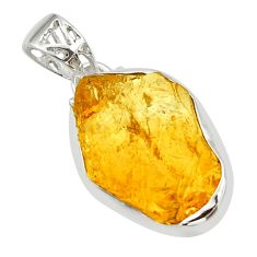 925 sterling silver 16.73cts yellow citrine rough pendant jewelry r29858