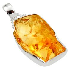925 sterling silver 12.18cts yellow citrine rough pendant jewelry r29970