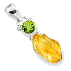 925 sterling silver 10.22cts yellow citrine rough peridot pendant jewelry r51564