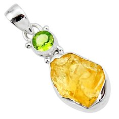 925 sterling silver 11.20cts yellow citrine rough peridot pendant jewelry r51567