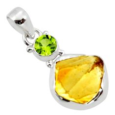 925 sterling silver 13.15cts yellow citrine rough peridot pendant jewelry r51570