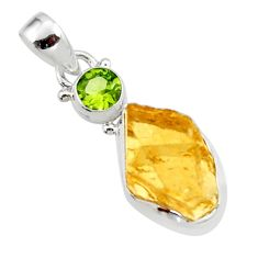 925 sterling silver 12.62cts yellow citrine rough peridot pendant jewelry r51574