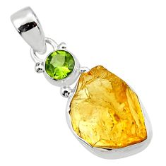 925 sterling silver 13.66cts yellow citrine rough peridot pendant jewelry r51578