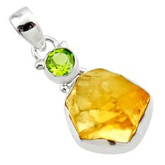 925 sterling silver 15.65cts yellow citrine rough peridot pendant jewelry r51584
