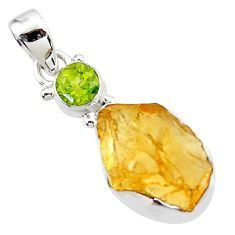925 sterling silver 11.26cts yellow citrine rough peridot pendant jewelry r51587