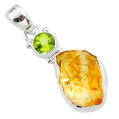 925 sterling silver 12.62cts yellow citrine rough peridot pendant jewelry r51595