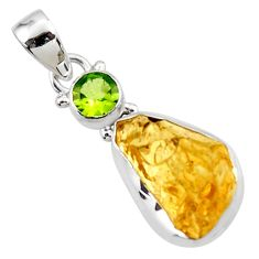 925 sterling silver 12.07cts yellow citrine rough peridot pendant jewelry r51599