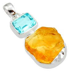 925 sterling silver 16.87cts yellow citrine rough topaz pendant jewelry r30084